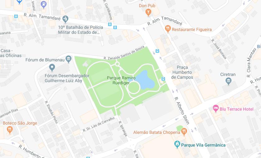 Parque Ramiro Ruediger em Blumenau: Mapa