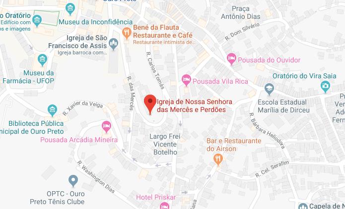 Mapa da Igreja Nossa Senhora das Mercês e Perdões em Ouro Preto