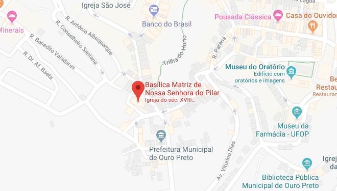 Localização daBasílica de Nossa Senhora do Pilar em Ouro Preto