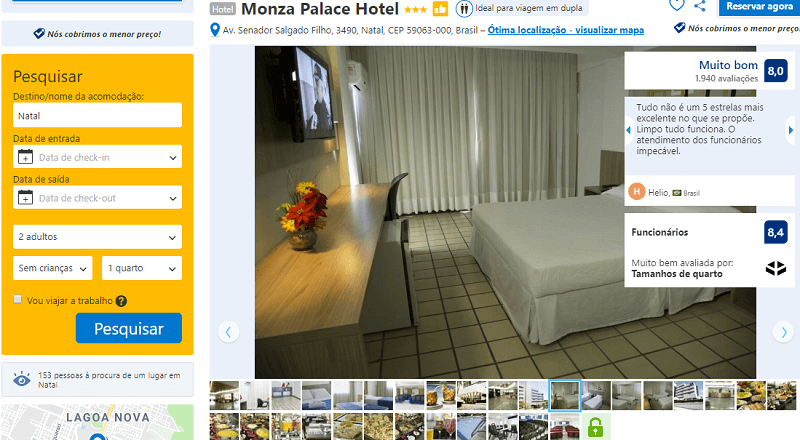 Estadia no Monza Palace Hotel em Natal